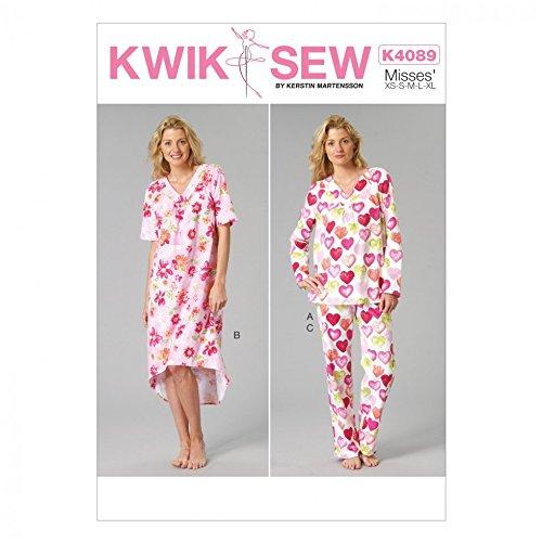 KWIK SEW Damen-Schnittmuster 4089 Pyjama und Nachthemd, Tissue, Mehrfarbig, Einheitsgröße