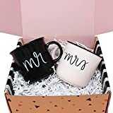 Milky Chic Mr and Mrs Coffee Mugs – Set of 2 Mr and Mrs Cups – Campfire Style Couple Mugs – 14 oz Ceramic Wifey Hubby Coffee Mugs – Lovely Christmas, Bridal Shower, Wedding, Anniversary Present Box