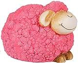 Sell-tex Gartenfigur Schaf, Tierfigur, frostsicher, wetterfest, handbemalte Gartendeko, innen & außen, Keramik, pink, gelb, grün (Rosa)
