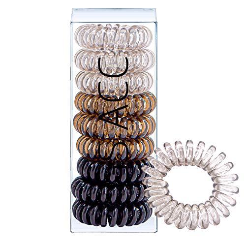 Huryfox 9 Piezas Gomas del Pelo, Espiral Elásticas Cabello Accesorios, Traceless Anillo Elástico Para el Cabello, Cable Telefónico Venda para mujer (Negro degradado)