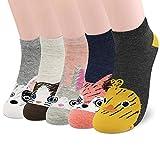 SUNWIND Cute Cartoon Female Socks 5 Pairs,Novelty Cotton Funny Animal Seamless Socks for Women and Girls (Farbe Tiersocken)