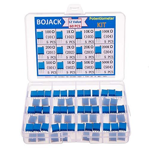 BOJACK 12 Values 60 pcs Variable Resistor 100 to 500K ohm 3296W Multiturn Trimmer Potentiometer Assortment Kit