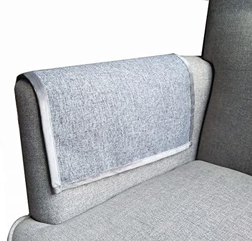Blue Grey 1 Pair Faux Linen Sofa Armrest covers Summer Use Nonslip Leather Sofa Armrest Protectors Removable Chair Fabric Sofa Armrest Covers 50X60CM Custom Size Accept