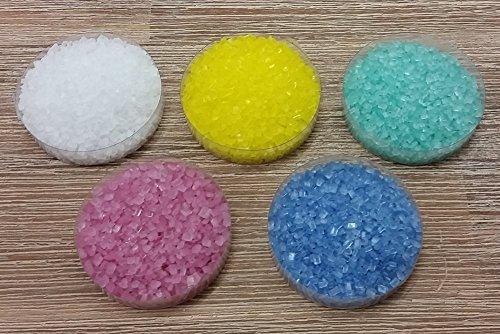 yagma Dekorzucker Set - Frühlingsmix (weiss, gelb, türkis, pink, blau) - Streuzucker (100 g)