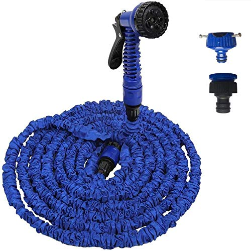 JHKJ Garden Hose Durable& Flexible Expandable Lightweight Light Weight Hose Pipes Reel with 7 Gun Best Choice for Watering and Washing,Blue,100FT(30M)