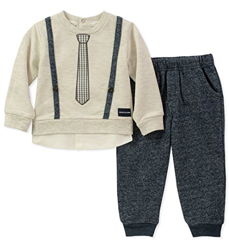 Calvin Klein Baby Boys 2 Pieces Pant Set-Mock Look 3PC, Oatmeal/Peacoat, 3-6 Months
