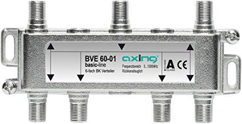 Axing BVE 60-01 Splitter 6 Vie, 5-1006 MHz partitore antenna con connettore F, per digitale...