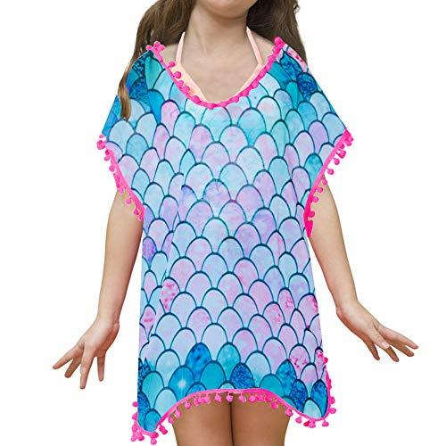 Galaxy Planet Cover Up for Girls Stars Swimwear Chiffon Coverups Swimsuit Beach Dress with Pompom Tassel(10-12 Years, Mermaid)