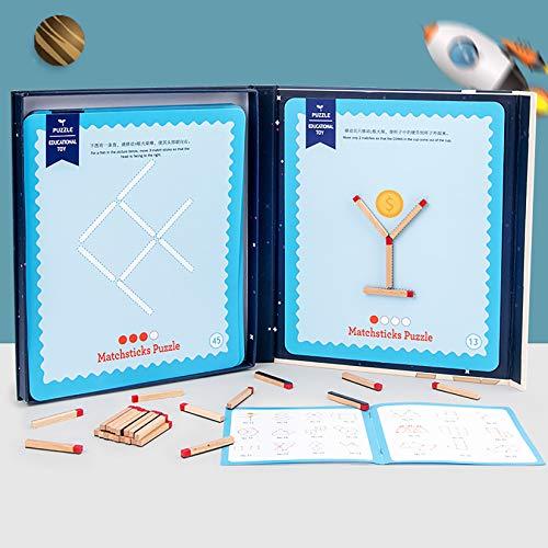 Classic Matchstick Game Logic Puzzle Desktop Educational Juguetes educativos, Preguntas matemáticas Estudiantes para niños Concentración Pensando Entrenamiento,Azul