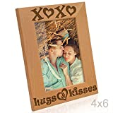 KATE POSH - XOXO Hugs and Kisses - Engraved Natural Wood Picture Frame - Engagement, Valentine's, Weddings, I Love You Gifts (4x6-Vertical)