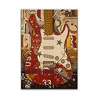 キャンバスに印刷壁アートギター絵画音楽キャンバス絵画壁に抽象絵画ポスターアートワークリビングルームの装飾-50x70cmフレームなし