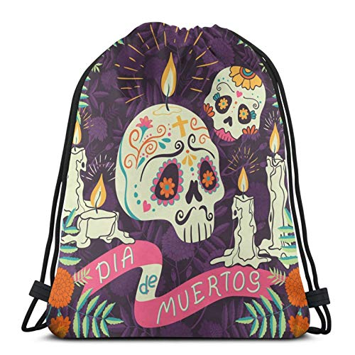 Lcokin Bundle Backpack Outdoor Shopping Knapsack Mexican Holiday Day of The Dead Reads Dia De Muertos Rope-Pulling Bag Sports Bag Suitable for Fitness Shopping and Yoga