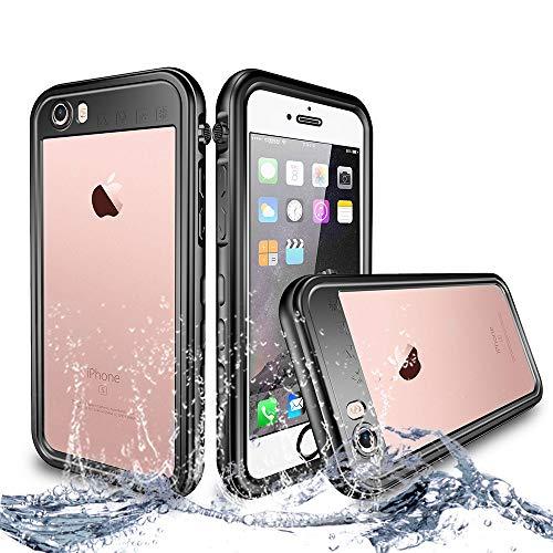NewTsie Custodia Impermeabile iPhone 6/6s Plus, IP68 Certificato Antiurto Cover Slim Subacquea Caso Full Protezione Custodia Protettiva per iPhone 6/6s Plus 5.5 inch (T-Nero)