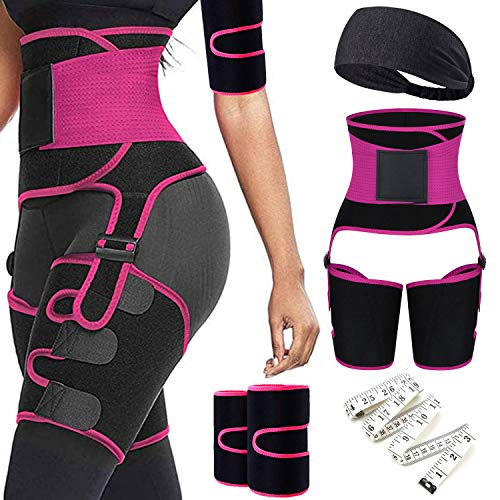 6 in 1 Waist Trainer Thigh Arm Trimmer for Women Double Compression Belt Leg Support Sweat Sauna Effect Body Shaper Butt Lifter (Rosepink, S/M)
