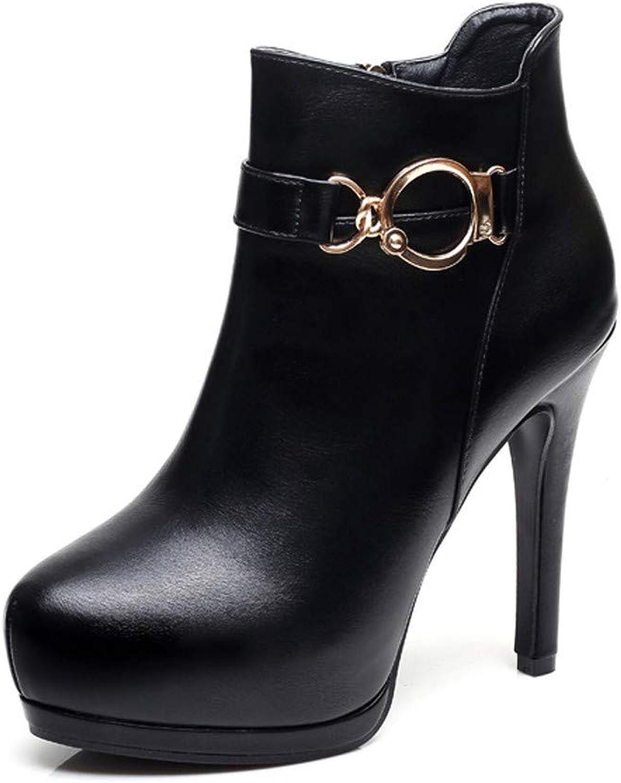 LBTSQ-Joker Kurz Und Knapp-Stiefel 11Cm Wasserdicht-Plattform Mit Stiefeln Spitze Sexy Schlank Hochhackige Schuhe Damenschuhe.