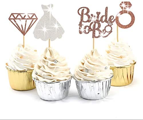 SUYEPER 24 Pcs Rose Gold Glitter Bride to be Cupcake Toppers Picks For Engagement Wedding Bachelorette product image
