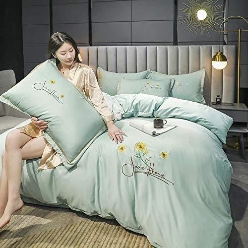 Bedding-LZ Juegos de sábanas de 90 de Oferta,Tianshi Estampado Cuatro Piezas Bordado de Seda de Lavado con Agua Cuatro Juegos-Norte_Cama de 1,8 m (4 Piezas)