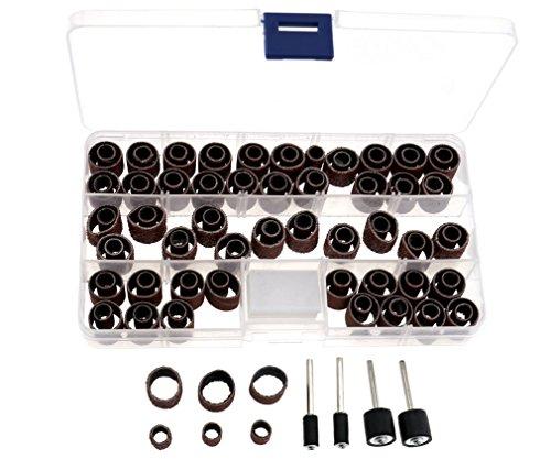 Bandas para cabezales de lijadora (104 unidades de 60,120 y320granos) con 4cabezales mandril dremel con funda