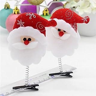 Bullidea 2 Pcs Hair Clip for Christmas Gift Santa Claus Christmas Grass Head Hairpin Vintage Hairband Hair Accessories
