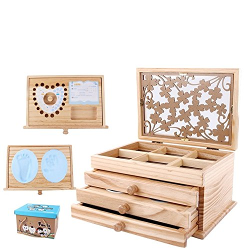 CHSEEA Babygeschenke für Andenken und Erinnerungen, Baby Erinnerungsboxen Keepsake Aufbewahrungsbox für Baby Handabdruck und Fußabdruck, Fotoalbum, erstes Souvenir, Milchzähne und Haare