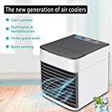 Alfheim Mini refroidisseur d'air,Humidificateur&Purificateur,Climatiseur de bureau portable avec veilleuse USB,Ventilateur...