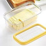 Butterdose mit versiegeltem Deckel und Schneider für einfaches Schneiden und Aufbewahren, BPA-frei, Butterdose für Kühlschrank, 2-in-1 transparenter Butterbehälter