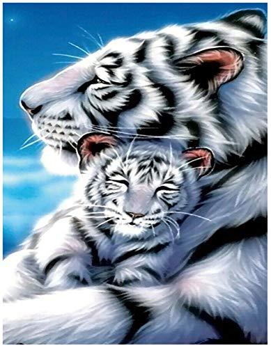 DIY 5D kit de pintura de diamantes, Full Diamond bordado de punto de cruz artes artesanales de suministro para el hogar decoración de la pared (White Tiger)