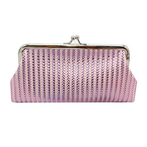 RQWY Geldbörse Mode Frauen Braid Stripe Laser Geldbörse Kosmetiktasche Kiss Lock Clutch