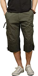 Kolongvangie Men's 3/4 Capri Shorts Below Knee Cotton Stretchy Cargo Long Inseam Shorts with Multi Pockets (No Belt)