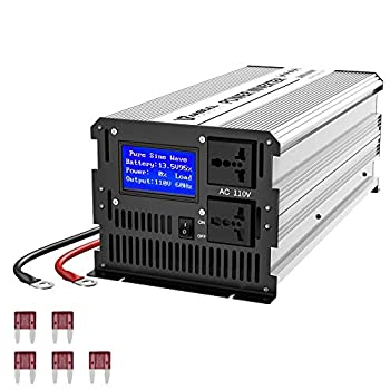 Anbull 3000W Pure Sine Wave Power Inverter DC 12V to AC 110V Car Power Inverter Converter Transformer with Dual AC Outlets & Large LCD Display