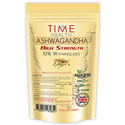 Ashwagandha - 10% Withanolides - HIGH Strength - Maximum Benefits - UK Manufactured - Zero Additives - Pullulan (60 Capsules)