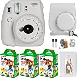 FujiFilm Instax Mini 9 Instant Camera + Fujifilm Instax Mini Film (60 Sheets) Bundle with Deals Number One Accessories Including Carrying Case, Selfie Lens, Photo Album (Smokey White)