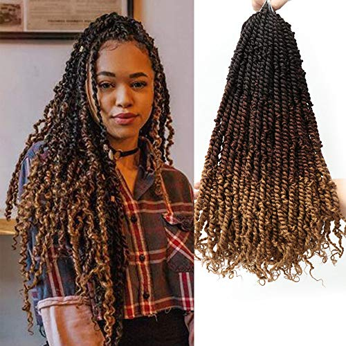 Eliza 7Packs Tiana Pre-twisted Passion Twist Crochet Hair Ombre Color Hand-made Pro-looped Passion Twist Crochet Hair Easy to Install Crochet Braids(20inches, 16 Strands/pack, OM3T3027)