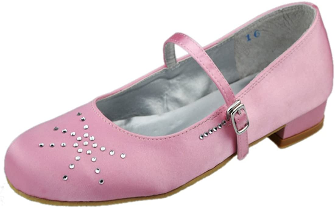 Minishion Kids Big Children Closed Toe Satin Party School Life Wedding Shoes Pumps for Girl