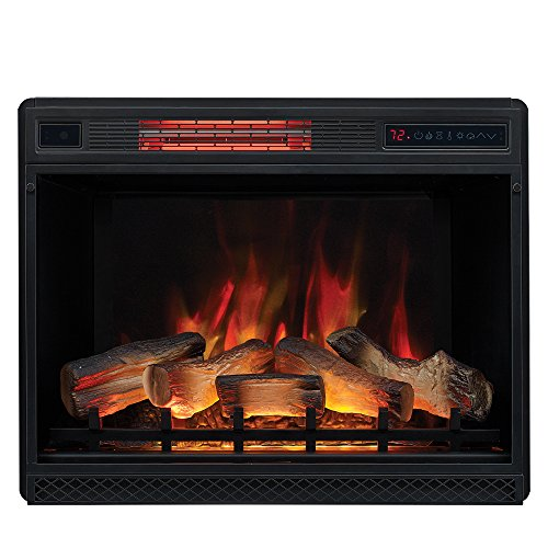 """Classic Flame 28"""" 3D Infrared Quartz Electric Plug and Safer Sensor Fireplace Insert, 28 inches"""