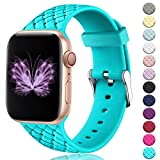HUMENN Sportbnder Kompatibel mit Apple Watch Armband 38mm 42mm 40mm 44mm, Damen Soft Silicone Weave...