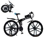26' Pulgadas Foldable Bicicleta de ciclocross 27 velocidades Amortiguadores Dobles Freno de Disco Dual Bicicletas de montaña 10 Ruedas Cuchillo Ruedas aleación de Aluminio/Desde almacén alemán,Black
