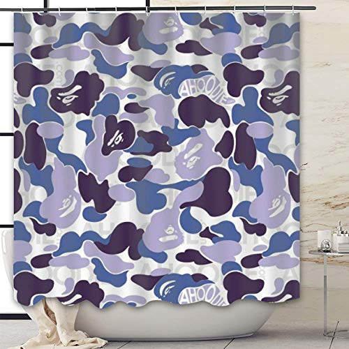 OBS Shower Curtains, Funny Design Fabric Bape Camo Shower Curtain Set with 12 Hooks