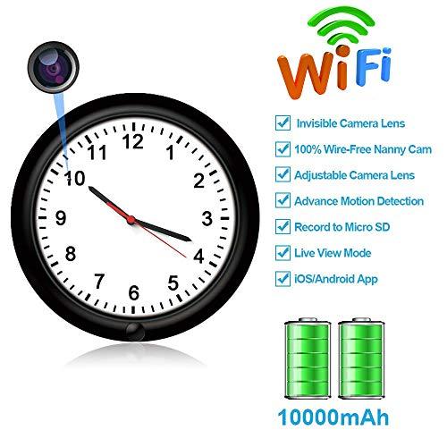 Cámara espía Oculta Wi-Fi Reloj de Pared Movimiento Activado con 365 días de energía de la batería a través de Internet Wi-Fi y 720P Live View Pinhole Lente de cámara Oculta Ajustable