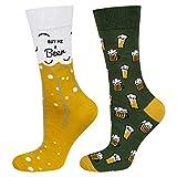 soxo Chaussettes d'homme Colorées sur le thème de la bière | Pointure 40-45EU | Chaussette Fantaisie Longues Drôles| Cadeau pour les Hommes | pour chaussures basses et hautes