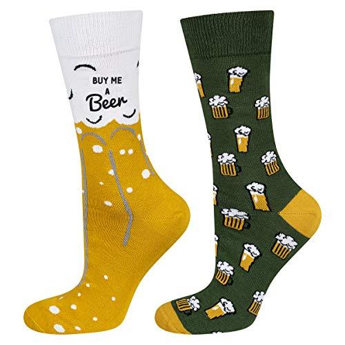 soxo Calcetines de Colores para Hombres con Dibujo de Cerveza | talla 40-45 EU | de Algodón | Accesorio Original