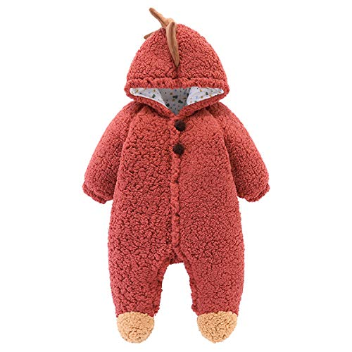 Baby Strampler Winter Fleece Overall Baumwolle Tier Hoodie Pyjama für Neugeborene Kleinkind Kleinkind Winter Outfits für Jungen Jungen Mädchen 0-18 Monate Wärmer Schneeanzug (Brown, 12-18 Months)