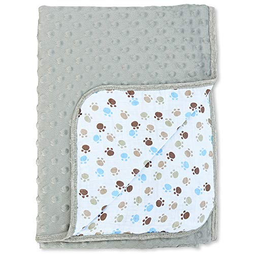 BlueSnail Minky Blanket with Double Muslin Cotton Layer for Boys and Girls (Gray+Footprint, 40Wx 60L)