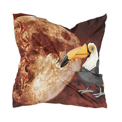 Chiffon hoofddoek hoofddeksel sheer girl sky space schedel vogel papegaai zijden sjaal halsdoek