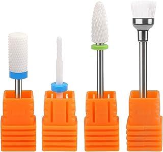 TIMESETL 4 Piezas Fresas de Cerámica 2.35MM Pulidora de Uñas Profesional para Uñas Acrilicas+ Cepillo de Limpio