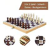 Schach Holz Schachspiel Schachbrett klappbar Reiseschach Backgammon Dame Spiel 3 in 1 Set Spielsammlung Feldgröße 29x29 cm Brettspiel Reisespiele für Hobbyspieler Einsteiger Kinder ab 6 Jahren -