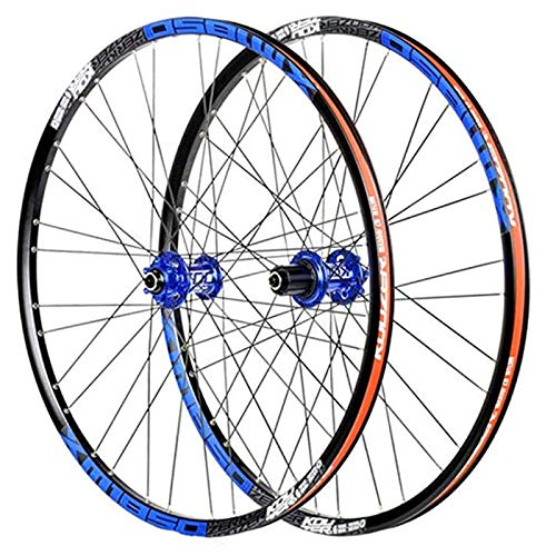 Lefuyan MTB Bicycle Wheel Set, Bike Front Rear Rim 26' 27.5', Disc Brake Double Wall Rims Quick Release Barrelaxis 32 Holes 8-11 Speeds