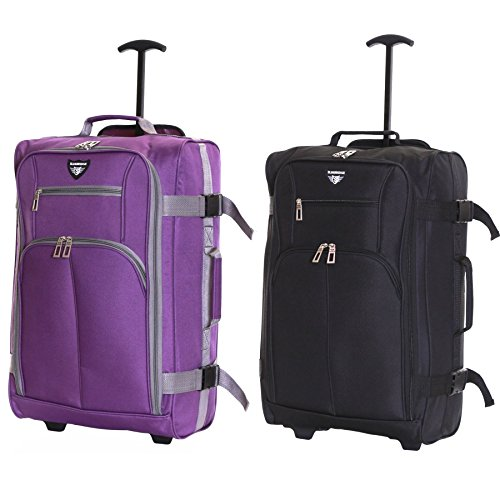 Slimbridge Cabin Carry-on Hand Luggage Suitcase Bag Ultra Lightweight 55 cm 1.5 kg 38.5 litres 2 Wheels - Set of 2, Lobos Black & Purple