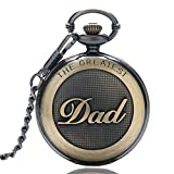 GORBEN Pocket Watch with Chain Dad Quartz Man Watch from Duaghter or Son with Box (Bronze)