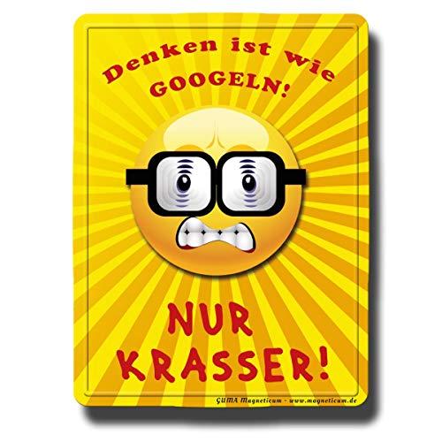 Kühlschrankmagnet Smiley lustig mit Spruch Emoji Nerd Denken 80x60 mm Deko Magnet Sprüche Geschenk stark für Kühlschrank Magnettafel Kinder